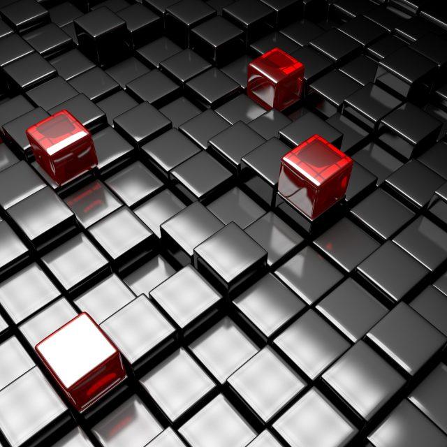 Dark silver cubes. Abstract metallic background. Modern design. 3d render